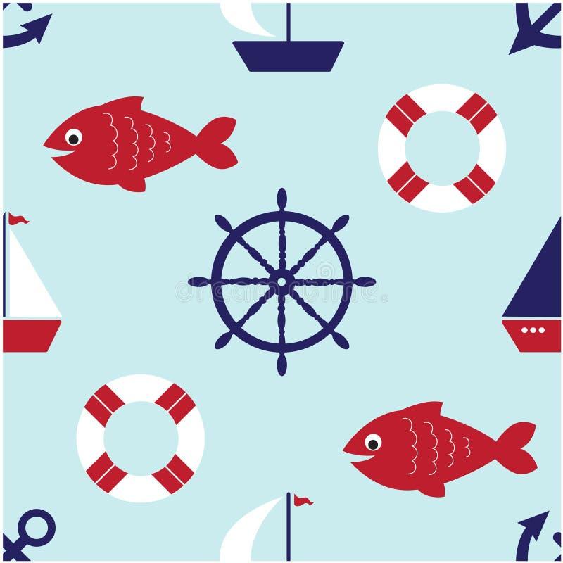 seamless gullig nautisk modell stock illustrationer