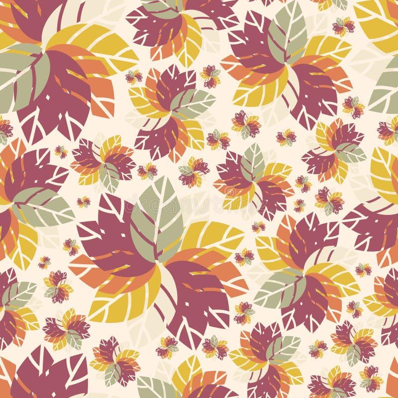 seamless härlig blom- modell Höst Blommor ljusa leaves retro modell stock illustrationer