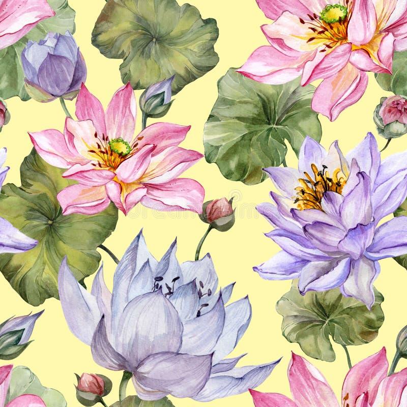 seamless härlig blom- modell Stora rosa färg- och lilalotusblommablommor med sidor på gul bakgrund illustratören för illustration royaltyfri illustrationer