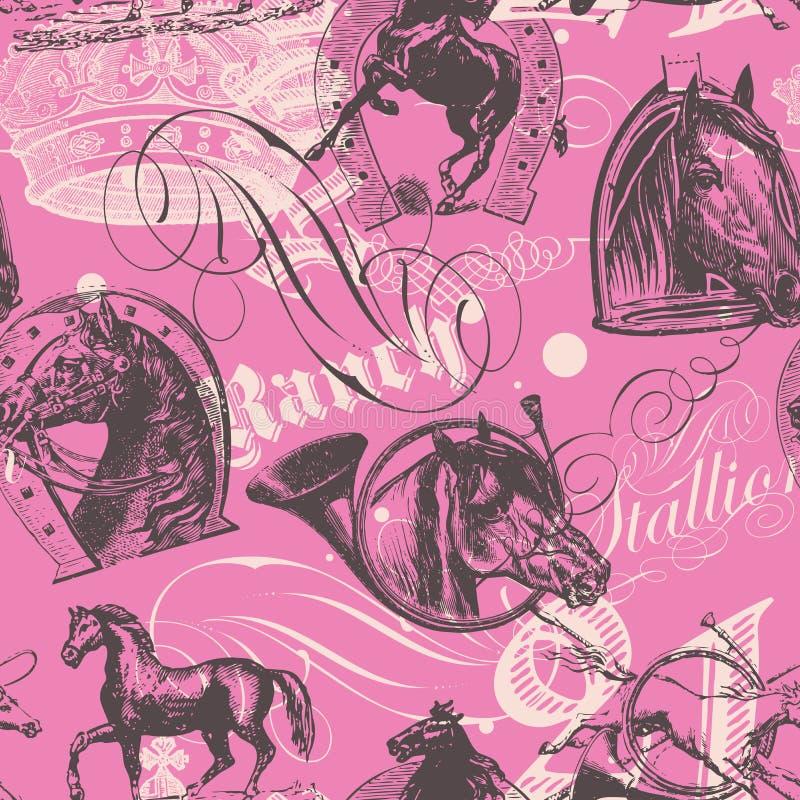 Seamless hästar mönstrar vektor illustrationer