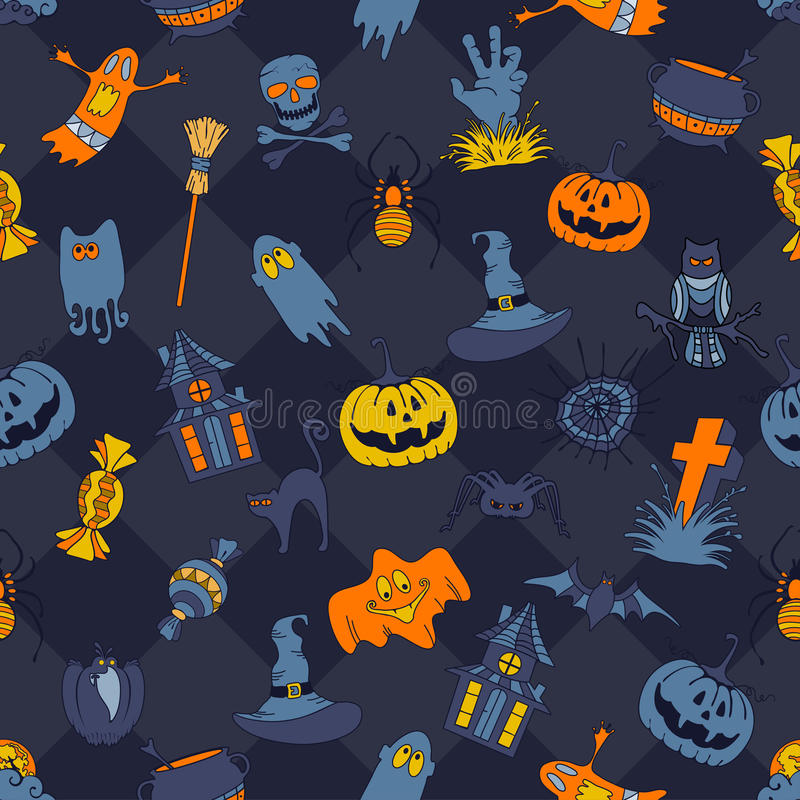seamless halloween modell royaltyfri illustrationer