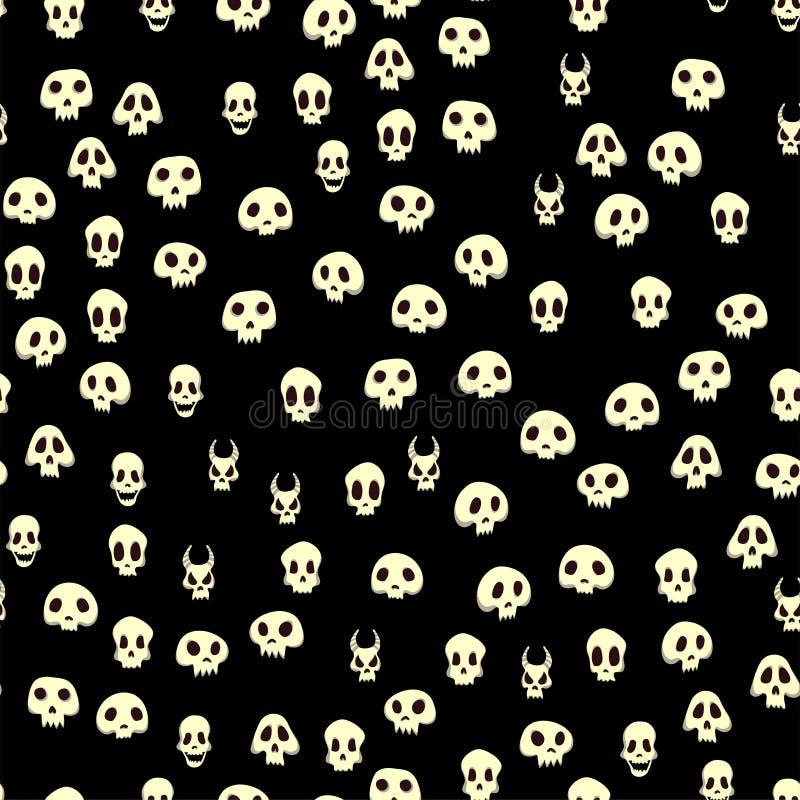Seamless halloween modell med skallar Vektorillustration som isoleras på svart bakgrund royaltyfri illustrationer
