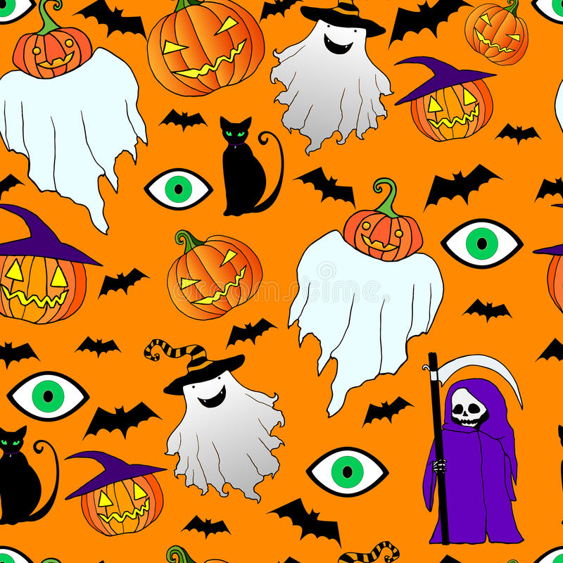 Seamless Halloween PatternFunnycrazy Ghostdeath With A Scythepumpkinblack CateyeVector Hand Drawn IllustrationColor Page For Adults And Children