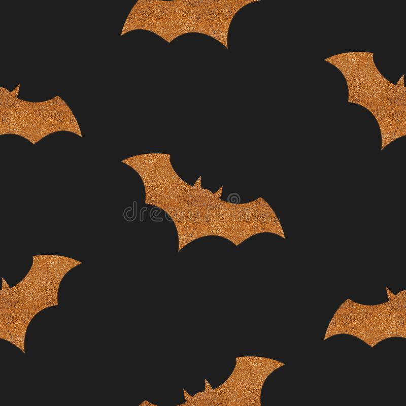 Seamless Halloween pattern with golden glitter bat silhouettes on black background royalty free illustration