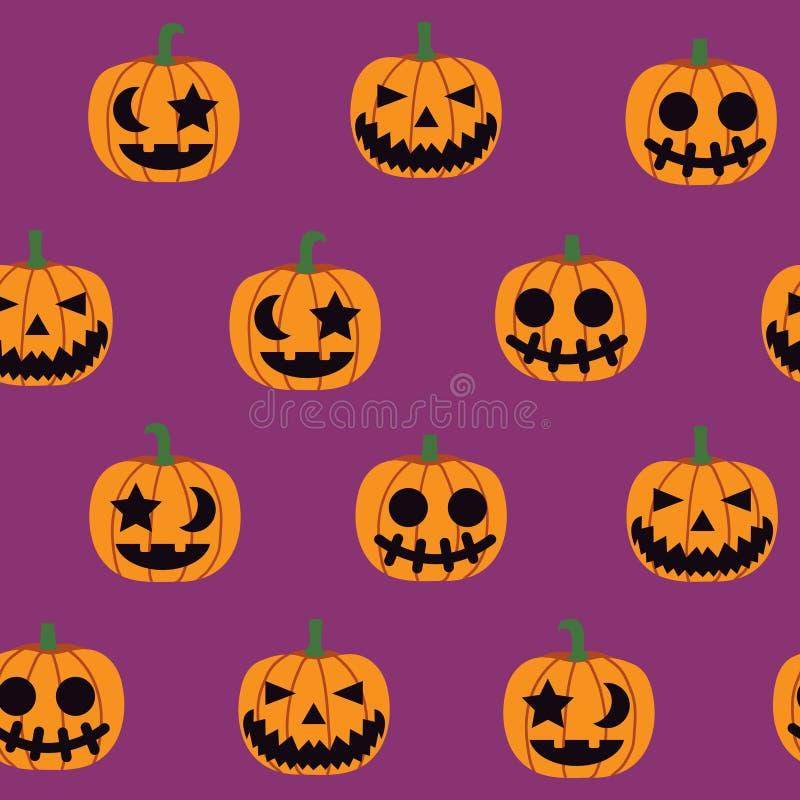 Seamless halloween pattern illustration, decorative pumpkin royalty free illustration