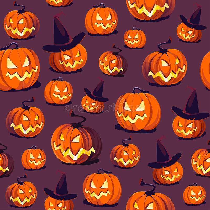 Seamless Halloween Pattern with Pumpkins on dark background. stock illustration