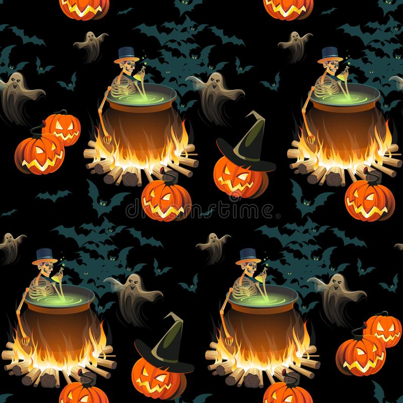 Seamless Halloween pattern with pumpkins, skeletons, ghosts and bonfires on black background. vector illustration