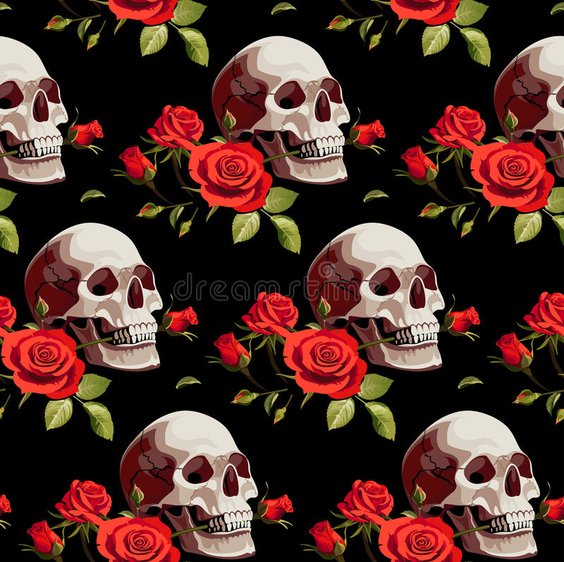 Seamless Halloween Pattern with Skulls and Red Roses on a Black Background. royalty free illustration
