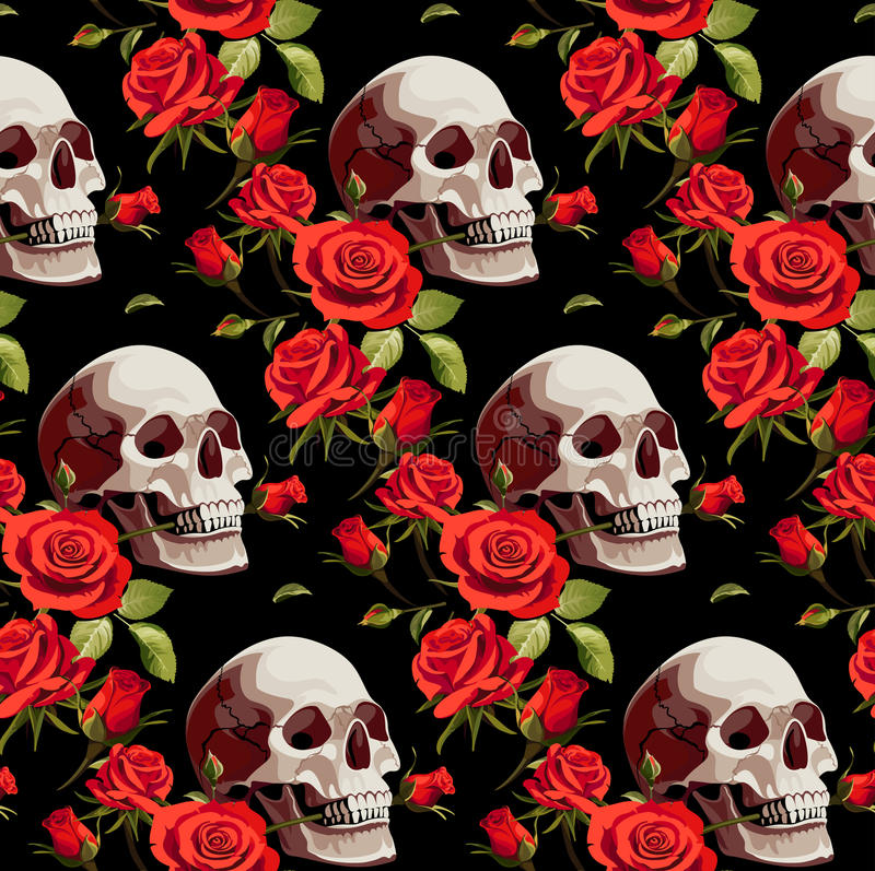 Seamless Halloween Pattern with Skulls and Red Roses on a Black Background. vector illustration