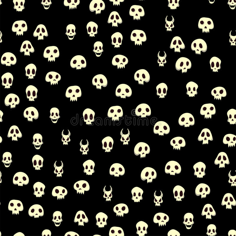 Seamless halloween pattern with skulls. Vector illustration, isolated on black background. royalty free illustration