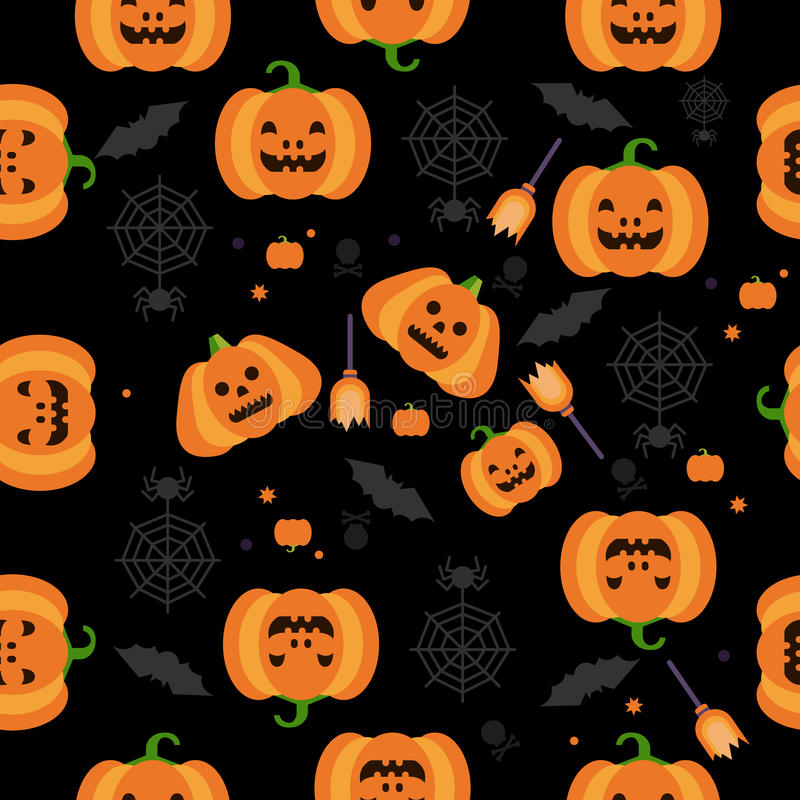 Seamless Halloween Pumpkin Pattern Vector vector illustration