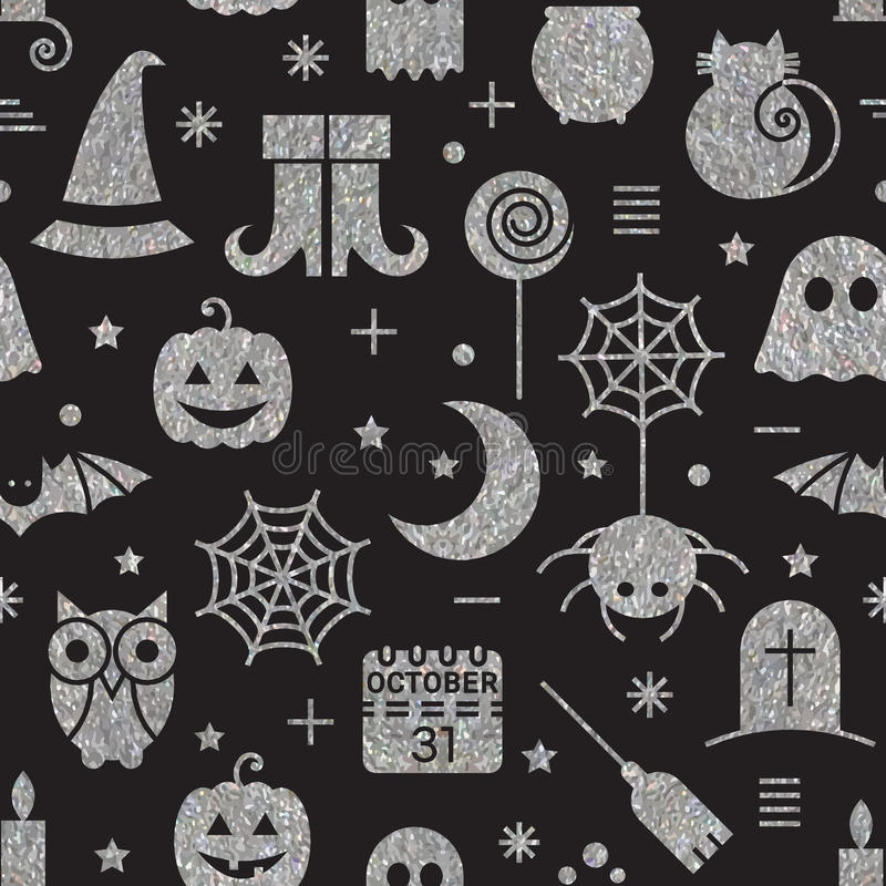 Seamless Halloween silver textured pattern. With festive Halloween icons. Bright design for wrapping paper, paper packaging, textiles, holiday party invitations stock illustration