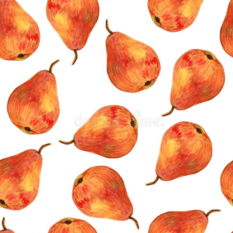 Seamless hand drawing background with watercolor pears. stock illustration