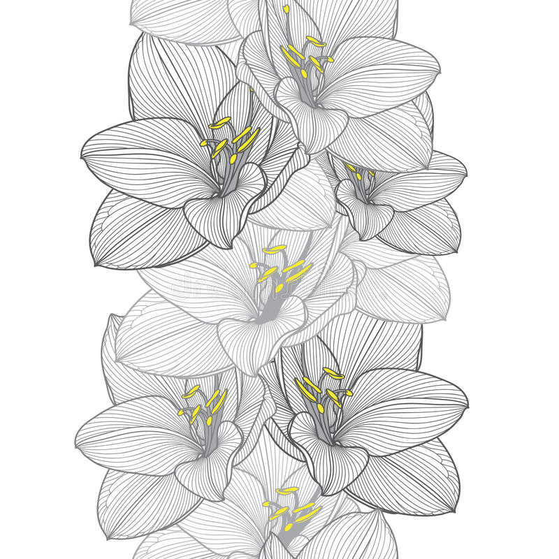 Seamless hand-drawing floral background with flower amaryllis royalty free stock photography
