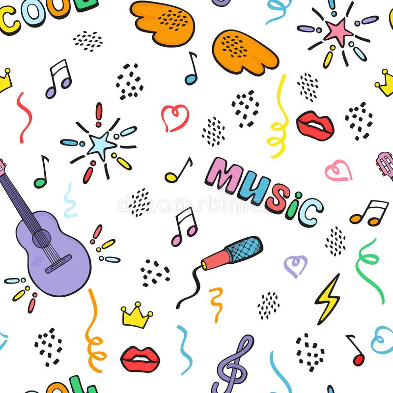 Seamless hand drawing with guitar, wings and musical signs. Color vector doodlin g. stock photos