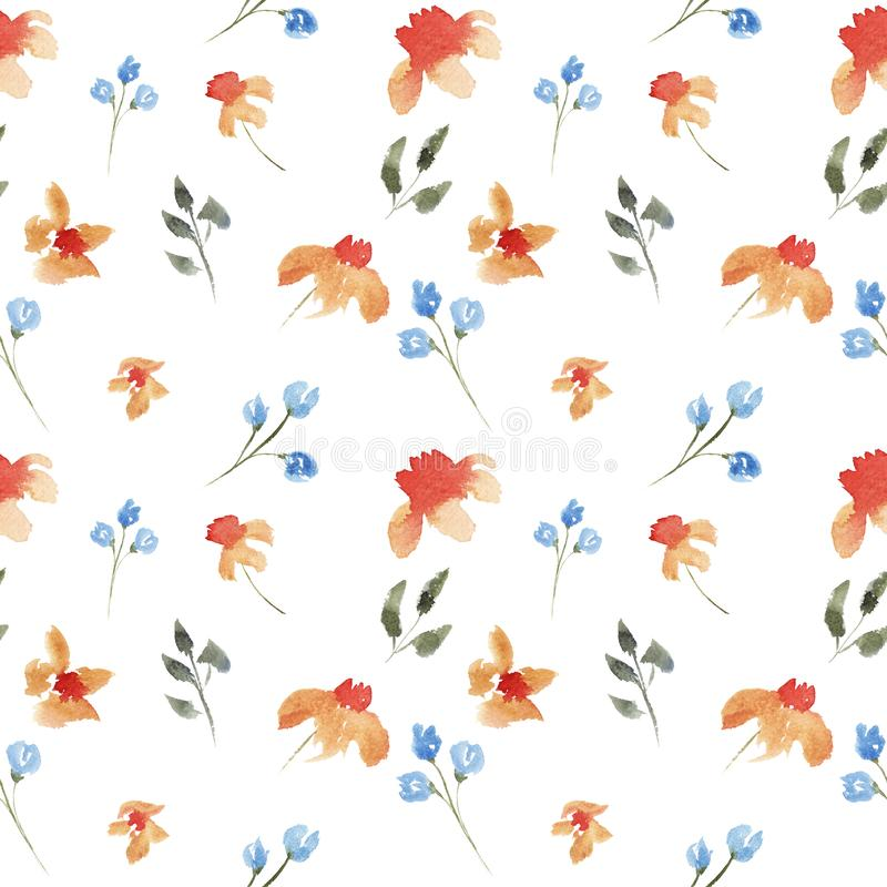 Seamless hand drawn beautiful watercolor floral pattern with orange and purple flowers. On white background stock illustration
