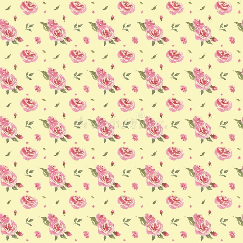 Seamless watercolor vintage floral pattern vector illustration