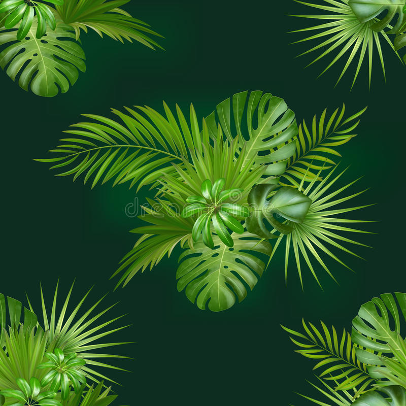 Seamless hand drawn botanical exotic vector pattern with green palm leaves royalty free illustration
