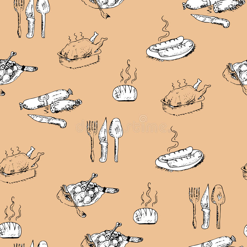 Seamless hand-drawn food pattern royalty free stock image