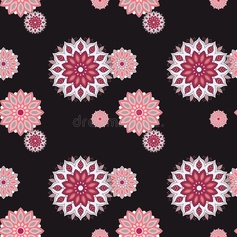 Seamless hand drawn mandala pattern. Vintage decorative elements stock illustration