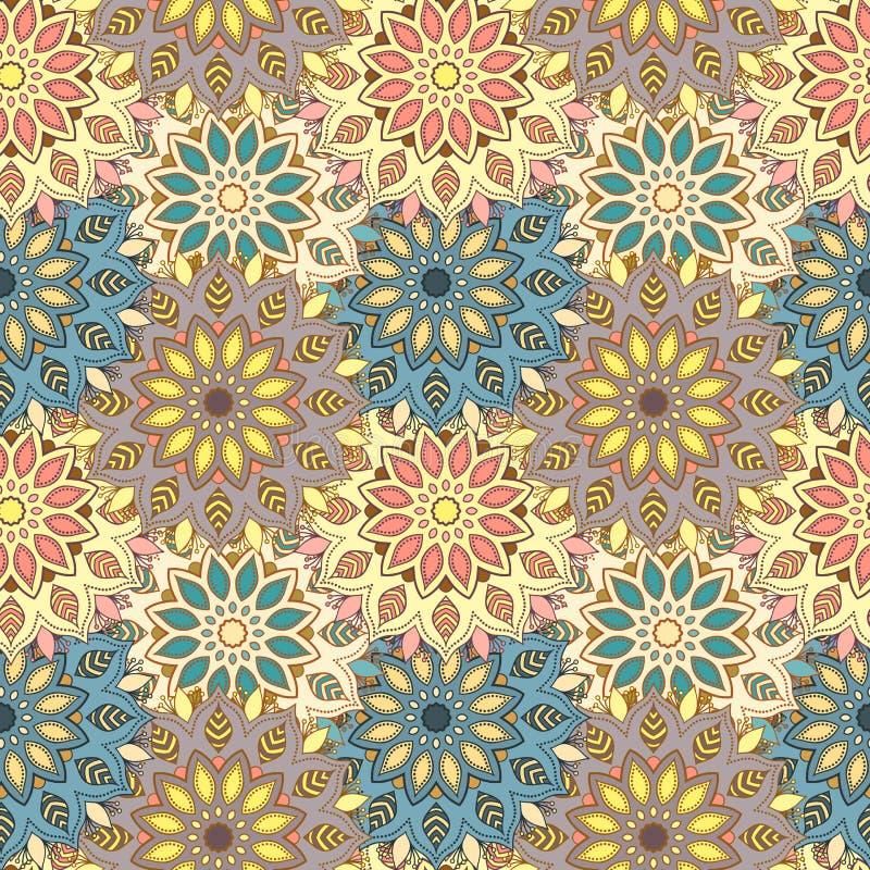 Seamless hand drawn mandala pattern. Vintage decorative elements stock illustration