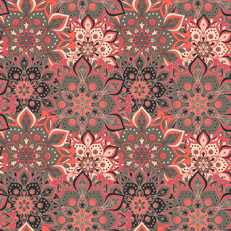 Seamless hand drawn mandala pattern. Vintage elements in oriental style. Texture for wallpapers, backgrounds and page fill. Islam. Arabic, indian, turkish vector illustration