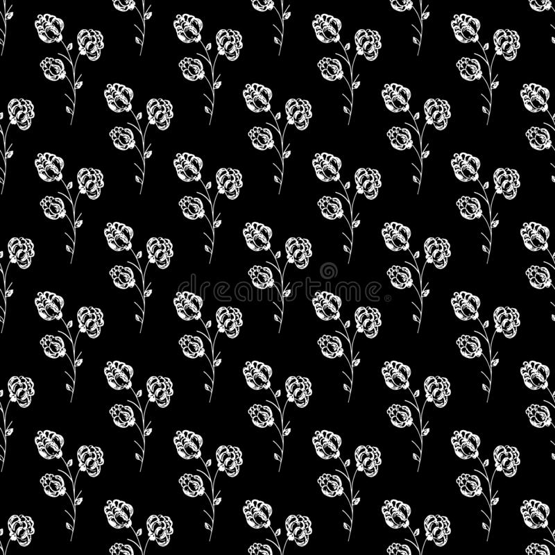 Seamless hand drawn pattern of abstract blackberry isolated on black background. Vector floral illustration. Cute doodle modern. Isolated pop art elements royalty free illustration