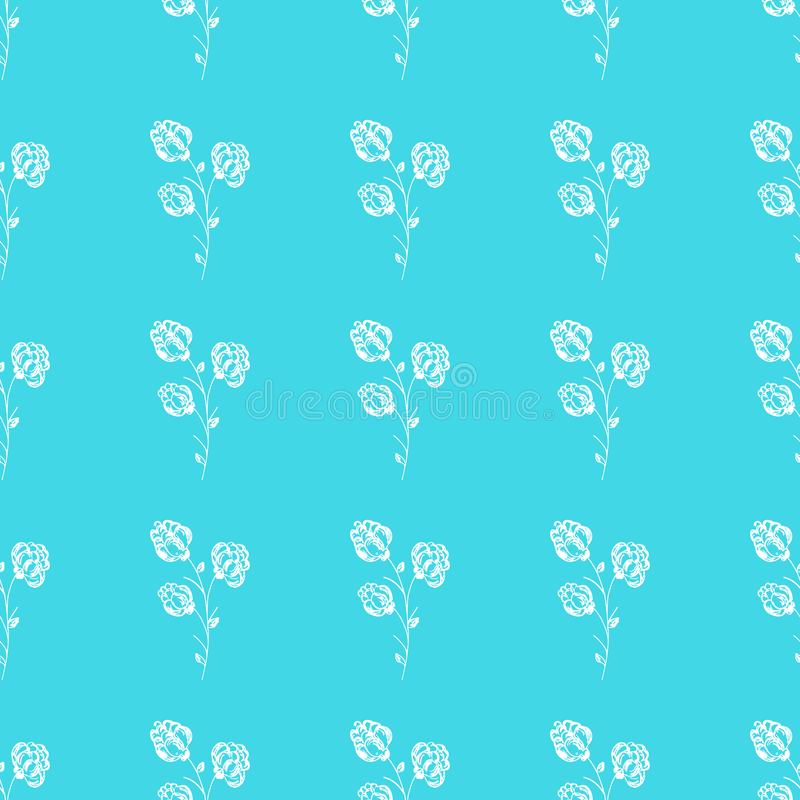 Seamless hand drawn pattern of abstract blackberry isolated on blue background. Vector floral illustration. Cute doodle modern. Isolated pop art elements stock illustration