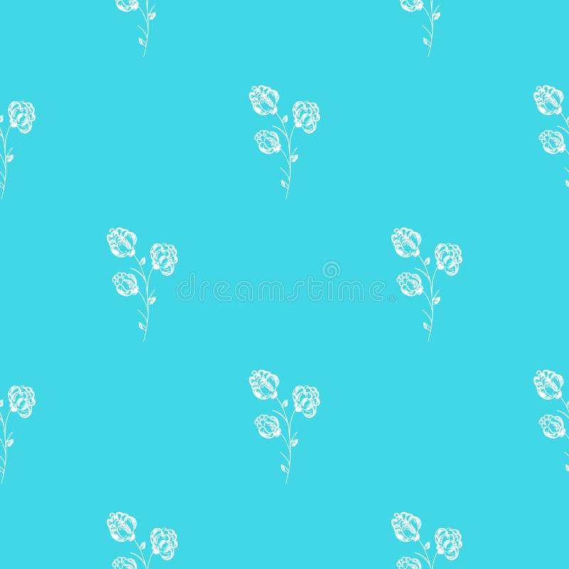 Seamless hand drawn pattern of abstract blackberry isolated on blue background. Vector floral illustration. Cute doodle modern. Isolated pop art elements royalty free illustration