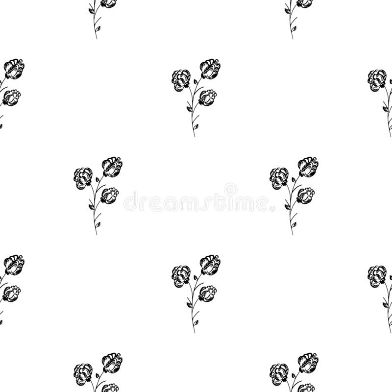 Seamless hand drawn pattern of abstract blackberry isolated on white background. Vector floral illustration. Cute doodle modern. Seamless hand drawn pattern of stock illustration