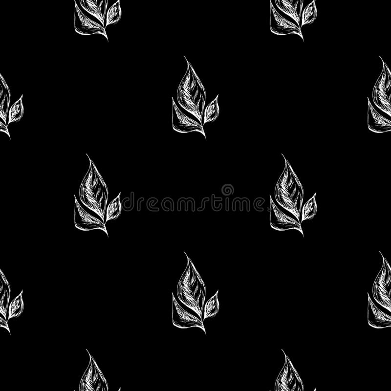 Seamless hand drawn pattern of abstract laurel leaves isolated on black background. Vector floral illustration. Cute doodle modern royalty free illustration