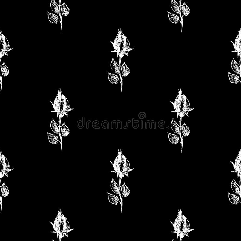 Seamless hand drawn pattern of abstract rose flowers isolated on black background. Vector floral illustration. Cute doodle modern. Isolated pop art elements royalty free illustration