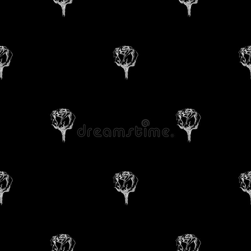 Seamless hand drawn pattern of abstract rose flowers isolated on black background. Vector floral illustration. Cute doodle modern. Isolated pop art elements stock illustration
