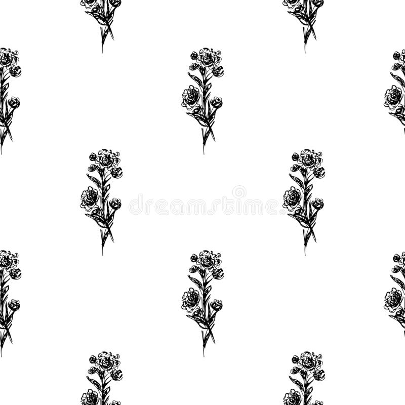 Seamless hand drawn pattern of abstract rose flowers isolated on white background. Vector floral illustration. Cute doodle modern. Seamless hand drawn pattern of stock illustration