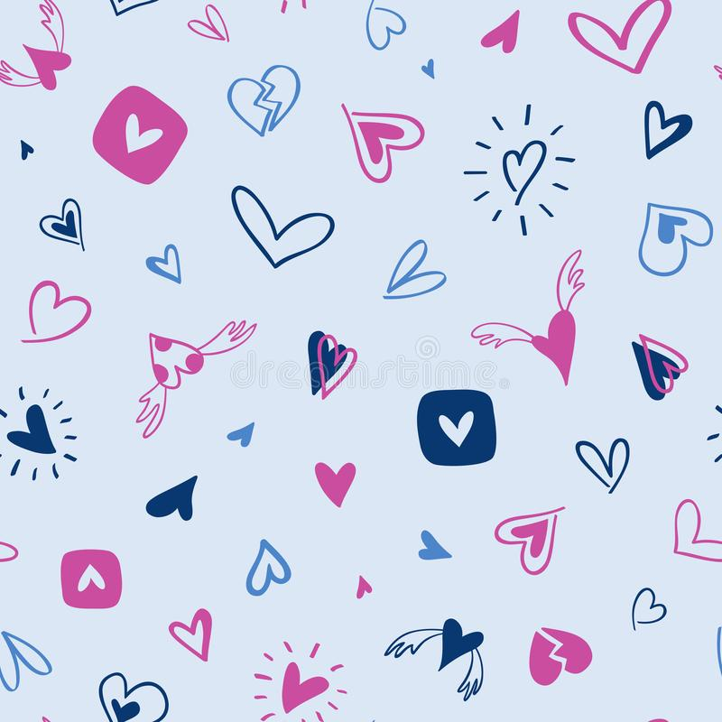Seamless hand drawn pattern of blue and pink hearts vector illustration