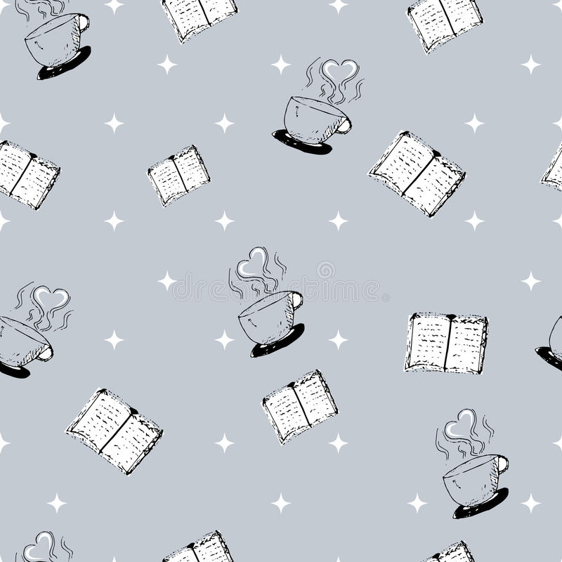 Seamless hand-drawn pattern with books and coffee cups royalty free stock image