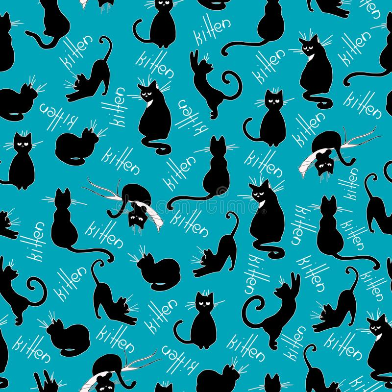 Seamless hand drawn pattern design vector with kittens typhography vector illustration