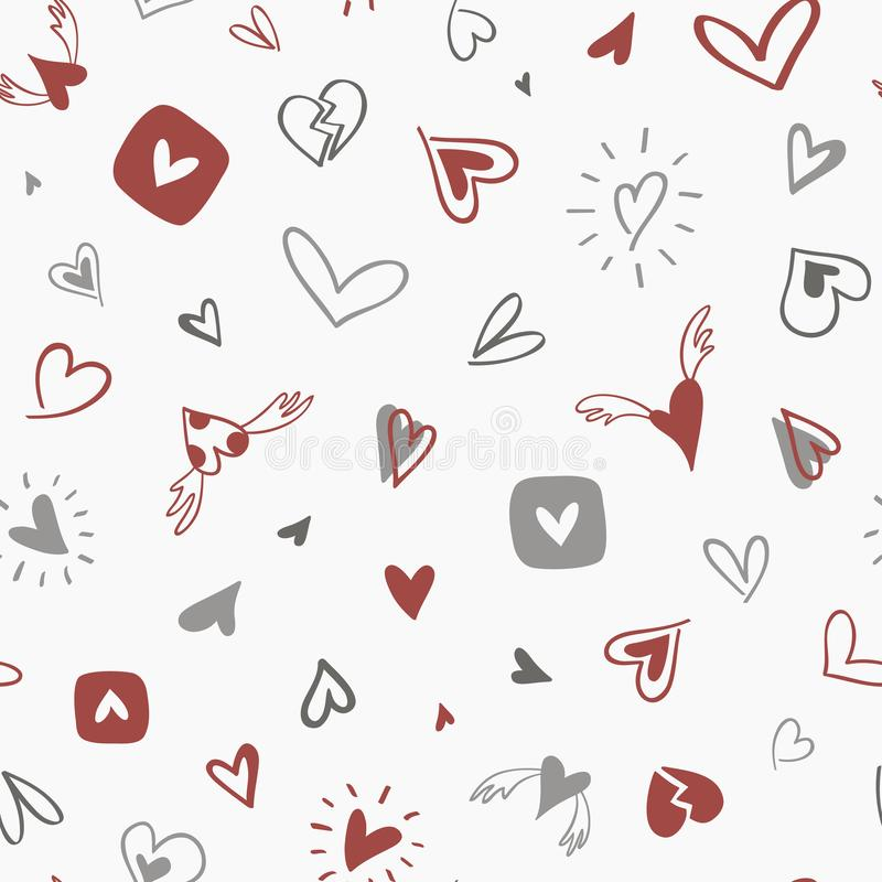 Seamless hand drawn pattern with gray-red hearts vector illustration