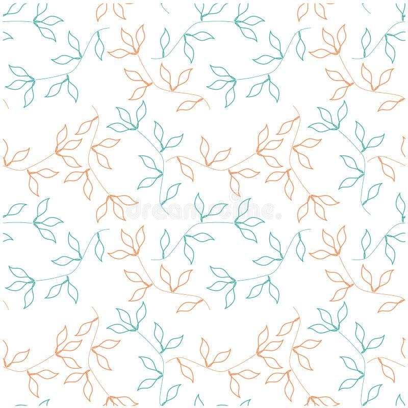 Seamless hand drawn pattern green, orange leaves on white stock vector illustration vector illustration