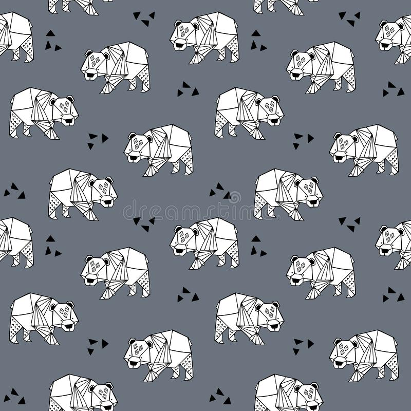 Origami pattern black and white. Seamless hand drawn pattern with ornate bears for wallpapers, web page backgrounds,textile,fabrics stock illustration