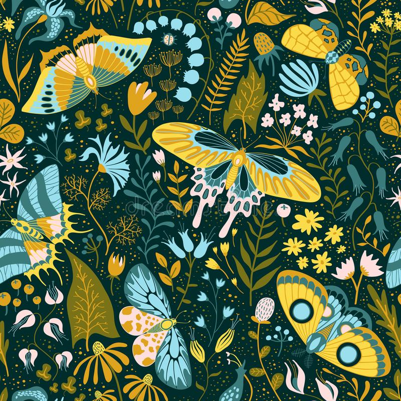 Seamless hand-drawn pattern with plants and butterflies stock illustration