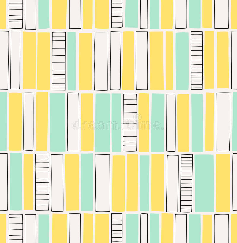 Seamless hand drawn pattern with squares stock illustration