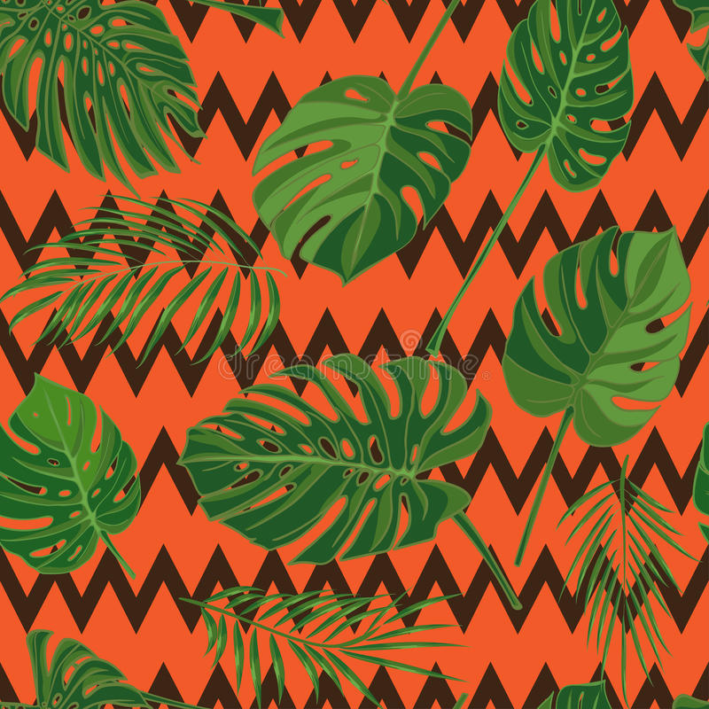 Seamless hand drawn tropical pattern with palm leaves, jungle exotic leaf on dark background vector illustration