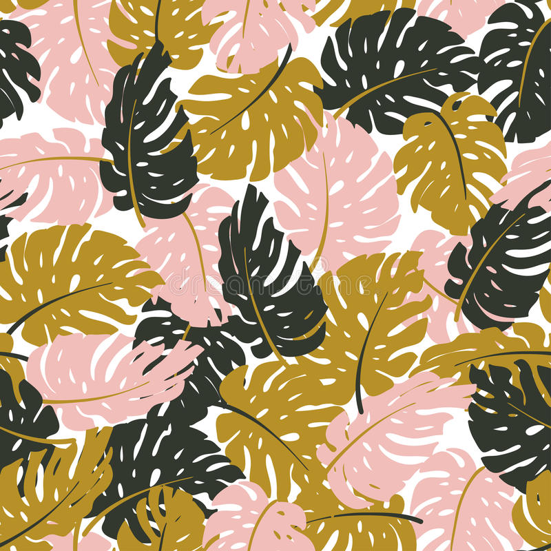 Seamless hand drawn tropical pattern. Vector background with monstera. vector illustration
