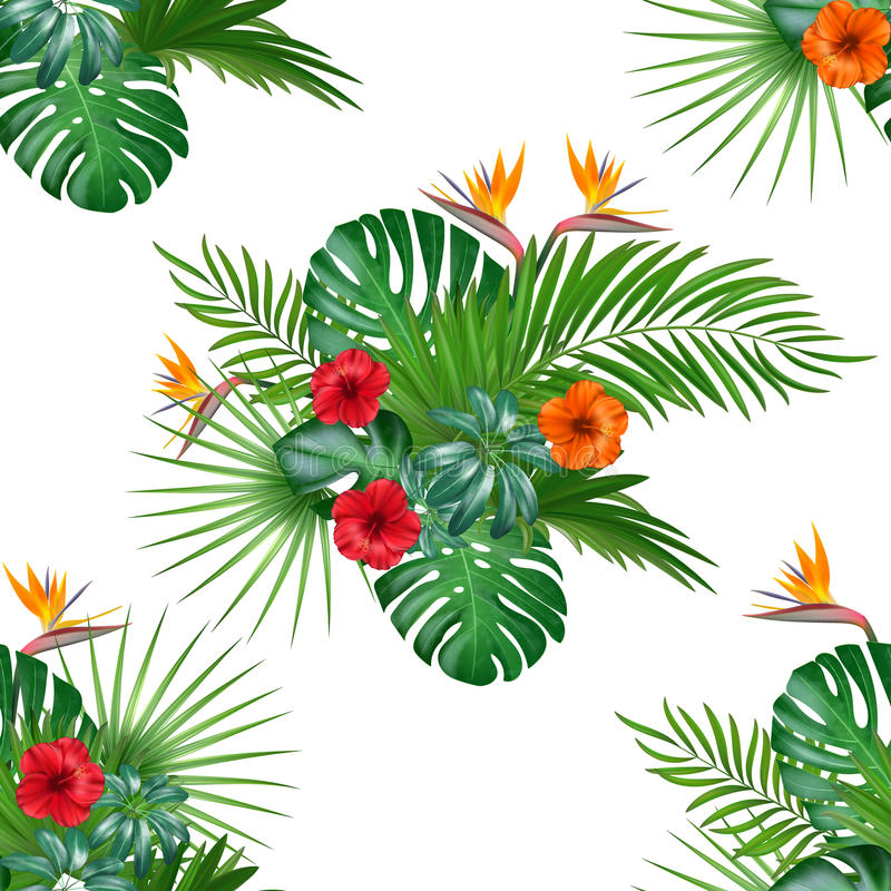 Seamless hand drawn tropical vector pattern with hibiscus flowers vector illustration