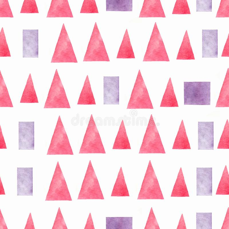 Seamless hand drawn watercolor pattern with pink and violet gradient triangles,rectangles and square on a white background. stock illustration