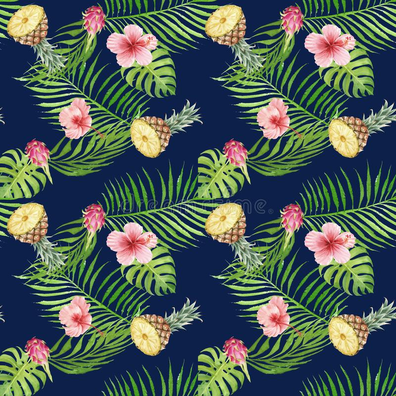 Seamless hand drawn Watercolor Tropical Pattern. Exotic fruits, palm leaves and hibiscus flower on blue background vector illustration