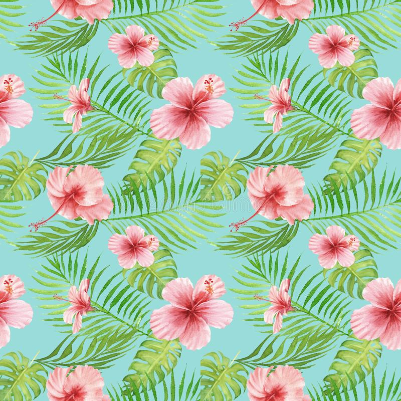 Seamless hand drawn Watercolor Tropical Pattern. Exotic hibiscus flower, palm and monstera leaves on blue background vector illustration