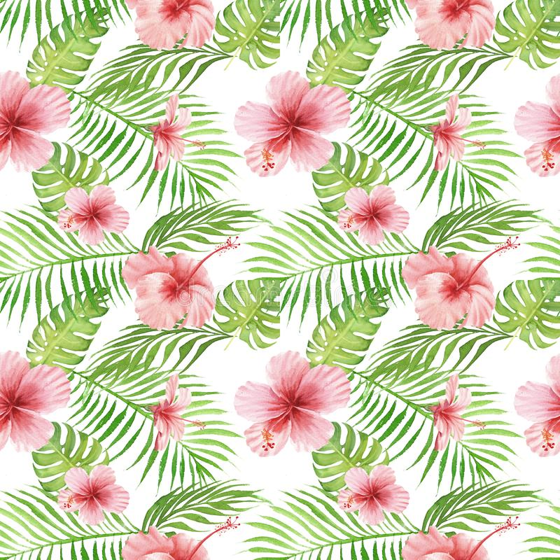 Seamless hand drawn Watercolor Tropical Pattern. Exotic hibiscus flower, palm and monstera leaves on white background vector illustration