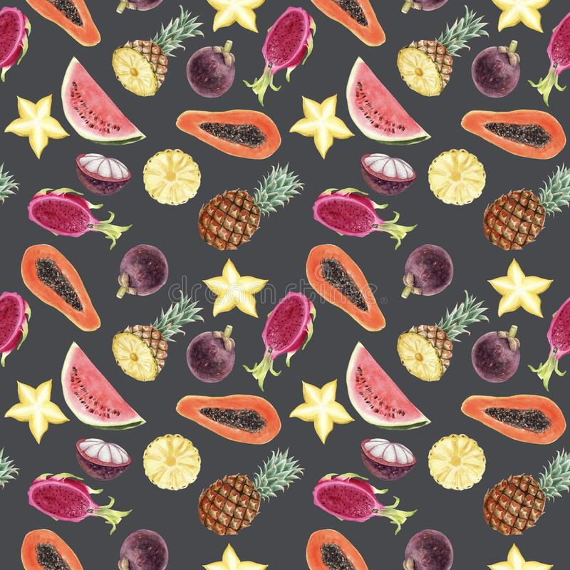 Seamless hand drawn Watercolor Tropical Pattern on gray background royalty free illustration